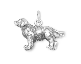 Golden Retriever Charm Sterling Silver Pendant 3D Dog Pet Animal