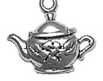 Sterling Silver Floral Tea Pot Teapot Charm Pendant Drink Food Flower
