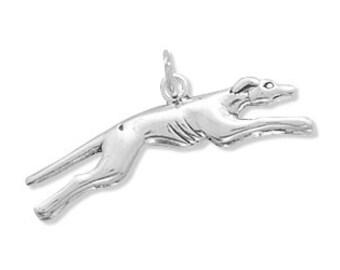 Sterling Silver Greyhound Charm Pendant 3d Dog Pet Animal