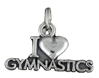 I Love Gymnastics Charm Sterling Silver Pendant Heart Gymnast