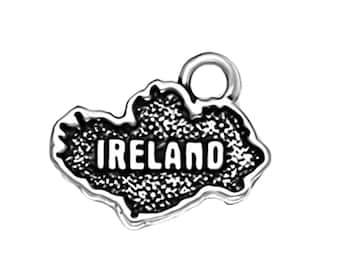 CLEARANCE Sterling Silver Ireland Map Charm Pendant Irish Country Celtic Travel