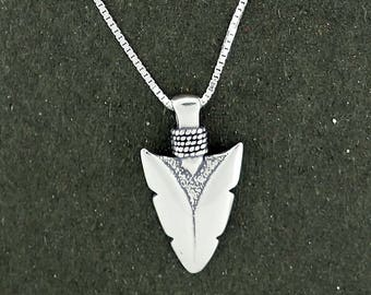 "Sterling Silver Arrowhead Charm Pendant Necklace with 24"" Box Chain"