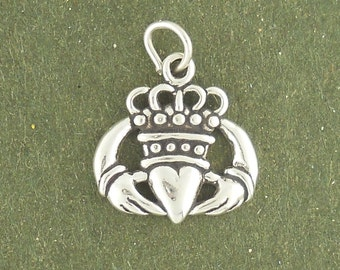 Sterling Silver Claddagh Charm Pendant Claddaugh Heart Crown Hand Celtic
