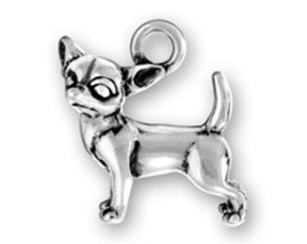 Chihuahua Charm Sterling Silver Pendant 3D Dog Head Turned Pet Animal