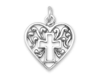 Filigree Heart with Cross Charm 925 Sterling Silver Pendant religious