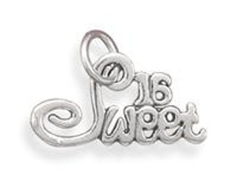 Sweet 16 Birthday Charm Sterling Silver Pendant Teenager