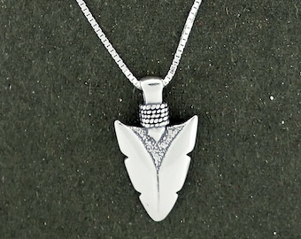 "Sterling Silver Arrowhead Charm Pendant Necklace with 20"" Box Chain"