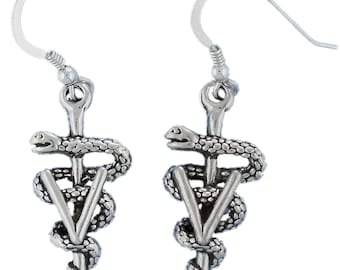 Sterling Silver Veterinarian Earrings Vet Veterinary Caduceus Animal Profession