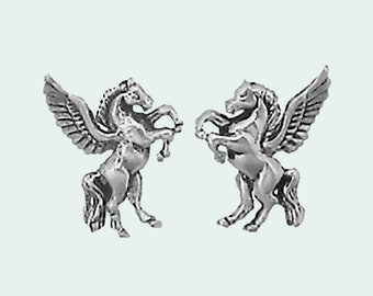Pegasus Earrings Sterling Silver Posts Studs Tiny Mini Winged Horse Animal