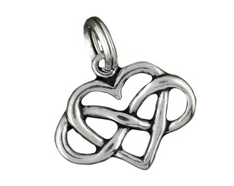 Sterling Silver Heart Infinity Charm Pendant Forever Love Symbol
