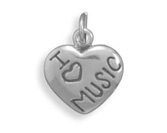 Sterling Silver I Love Music Heart Charm