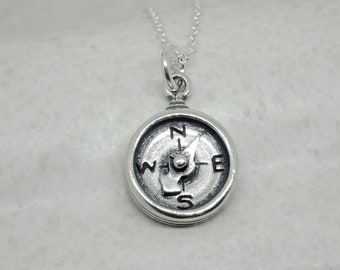 Compass Necklace Sterling Silver Charm Pendant Cable Chain