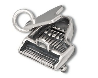 Grand Piano Charm Sterling Silver Pendant Top Opens Musical Instrument 3D