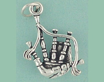 Bagpipe Piper Charm 3d Sterling Silver Pendant Music Instrument Celtic