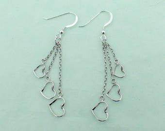 Heart Earrings Sterling Silver French Hooks 3 Dangling Hearts Love