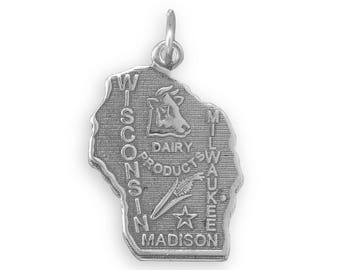 Sterling Silver Wisconsin State Charm America Badger Corn Cow Madison
