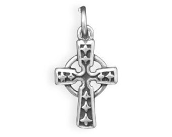 Celtic Cross Charm Sterling Silver Pendant Small Mini