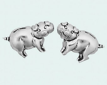 Pig Earrings Sterling Silver Posts Studs Tiny Mini Piggy Piggies Animal Hog