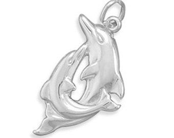 Sterling Silver Dolphin Charm Pendant Playing Dolphins