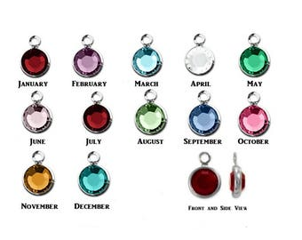 Swarovski Crystal Channel Set Charm Silver Plated 6mm Birthstone Colors Comes with a Split Ring
