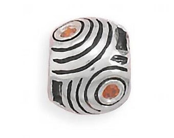 Circles and Curves Charm Bead Sterling Silver Light Red CZs Round Shape