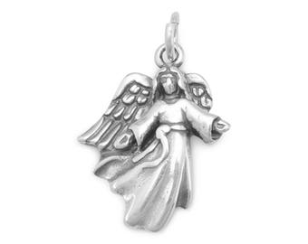 Angel Charm 925 Sterling Silver Pendant Wings Open Arms