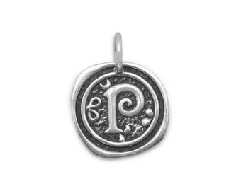 Sterling Silver Letter Charm P Initial Pendant Ornate Disc