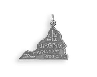 Sterling Silver Virginia State Charm America Old Dominion Richmond Norfolk