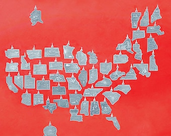 USA State Charms 925 Sterling Silver America