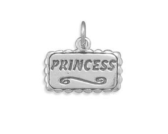 Princess Charm 925 Sterling Silver Pendant Scroll