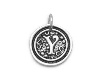 Sterling Silver Letter Charm Y Initial Pendant Ornate Disc