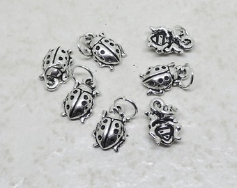 CLEARANCE Ladybug Charm set of 7 Pewter Antique Finish Garden Insect Animal