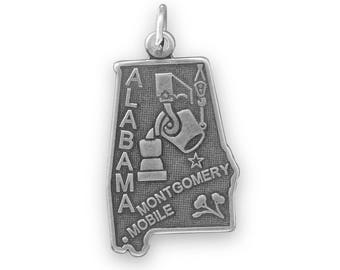 Sterling Silver Alabama State Charm America Yellowhammer Mobile Montgomery