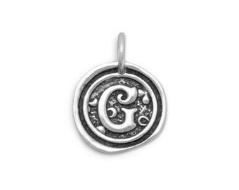 Sterling Silver Letter Charm G Initial Pendant Ornate Disc