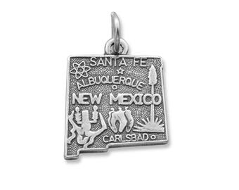 Sterling Silver New Mexico State Charm America Land of Enchantment