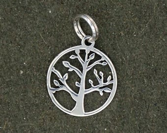 CLEARANCE Sterling Silver Tree Charm Pendant Circle Round Branches Leaves Leaf