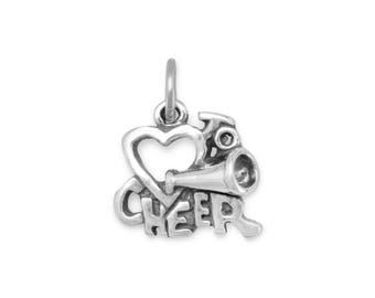 Love to Cheer Charm 925 Sterling Silver Pendant Heart Cheerleader Megaphone