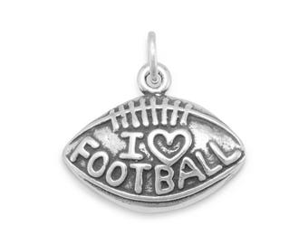 I Love Football Charm 925 Sterling Silver Pendant Heart Sport