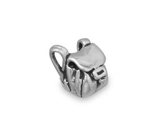 Sterling Silver Backpack Charm Pendant 3d Back Pack Rucksack Hiking