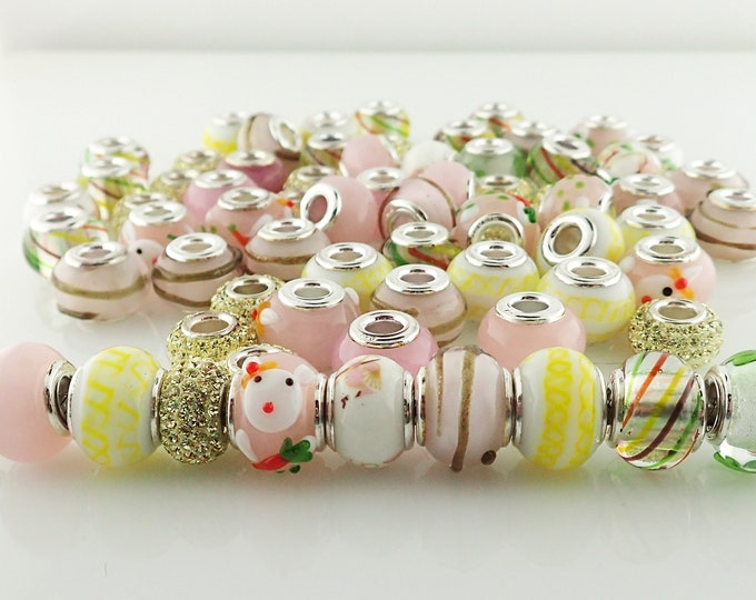 Featured listing image: Lot of 69 Beads Easter Pastel Crystal Glass Sterling Silver Core Large Hole Bunny Charm