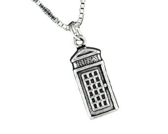 Sterling Silver British Telephone Booth Pendant Necklace with Box Chain