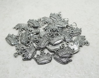 CLEARANCE Crown Charm set of 25 Silver Plated Pewter Antique Finish