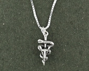 Sterling Silver Veterinary Caduceus Necklace Box Chain Pendant Animal Pet Vet Veterinarian