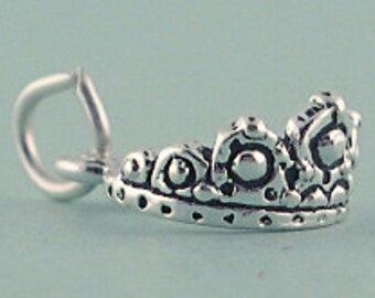 Sterling Silver Tiara Crown Charm Pendant 3d Princess Queen