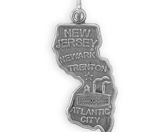 Sterling Silver New Jersey State Charm America Atlantic City Newark Garden