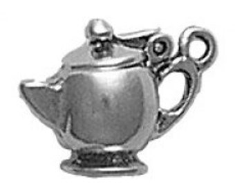 Sterling Silver Teapot Charm Pendant Tea Pot Lid Opens Drink Food