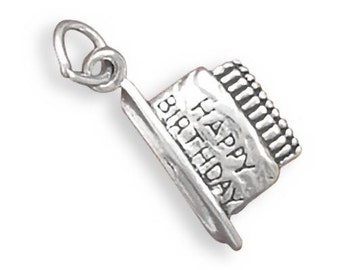 Sterling Silver Happy Birthday Cake Charm Pendant