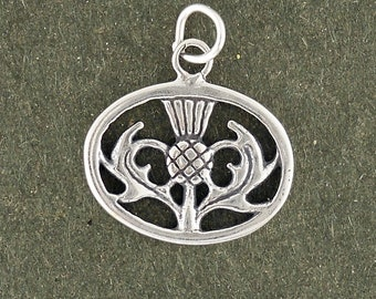 Thistle Charm Sterling Silver Pendant Oval Scottish Scotland Plant Flower
