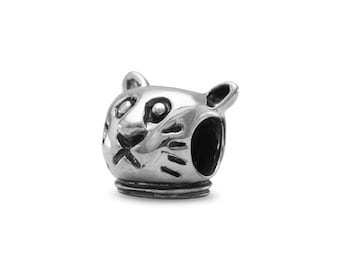 Cat Charm Bead Sterling Silver Animal Kitty Feline Pet Kitten