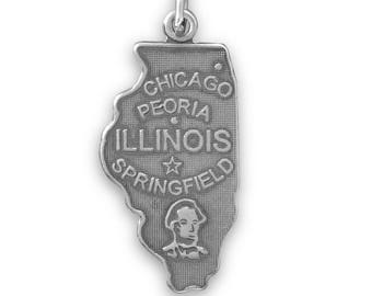 Sterling Silver Illinois State Charm America Abraham Lincoln Prairie Chicago